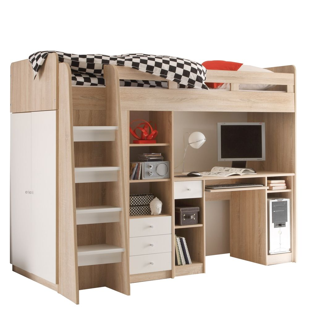 hochbett mit kleiderschrank unter dem bett 8488 made house decor. Black Bedroom Furniture Sets. Home Design Ideas