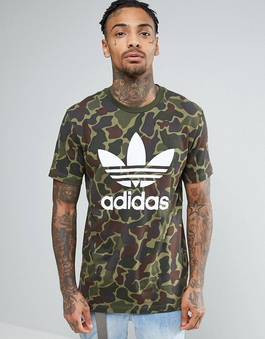 e09945c042 ADIDAS ORIGINALS TREFOIL LOGO T-SHIRT IN CAMO BK5861 - GREEN.   adidasoriginals  cloth