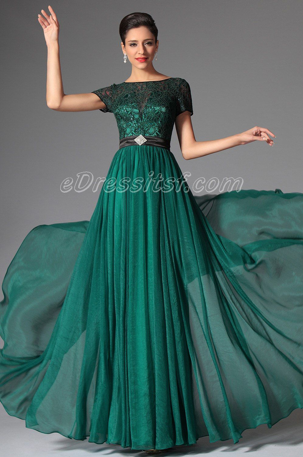 New dark green short sleeves evening dress prom dress wedding