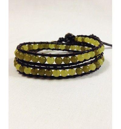 Yellow Crystal 2 Wrap Leather Bracelet