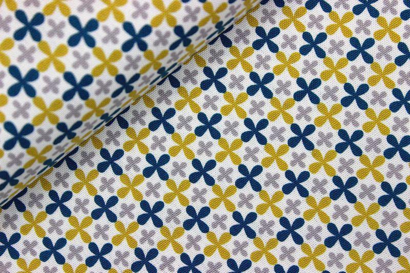 Stoff - Blumen - Monaluna - Blau/Gelb/Grau Canvas auf alles-fuer-selbermacher.de