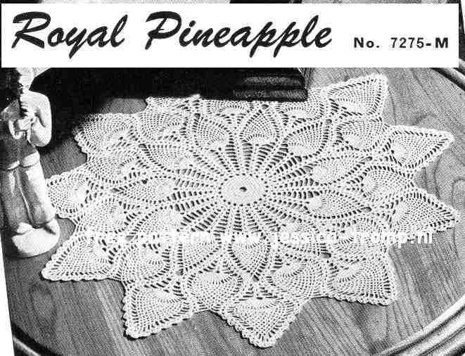 Pineapple Doily No 7275 M Free Vintage Crochet Doilies Patterns