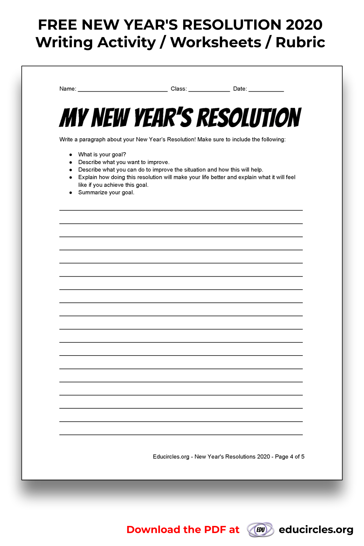 My New Year S Resolution Write Out A Paragraph