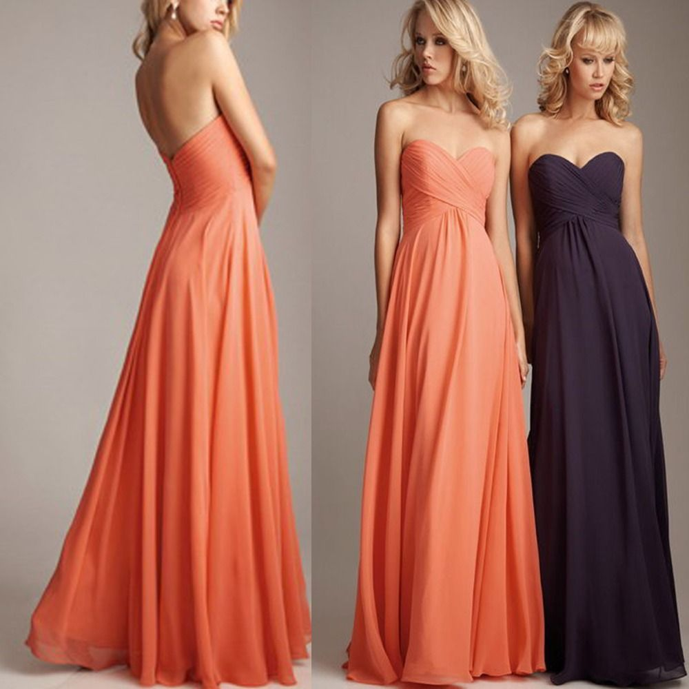 Plus Size Coral Colored Bridesmaid Dresses Long Chiffon Wedding