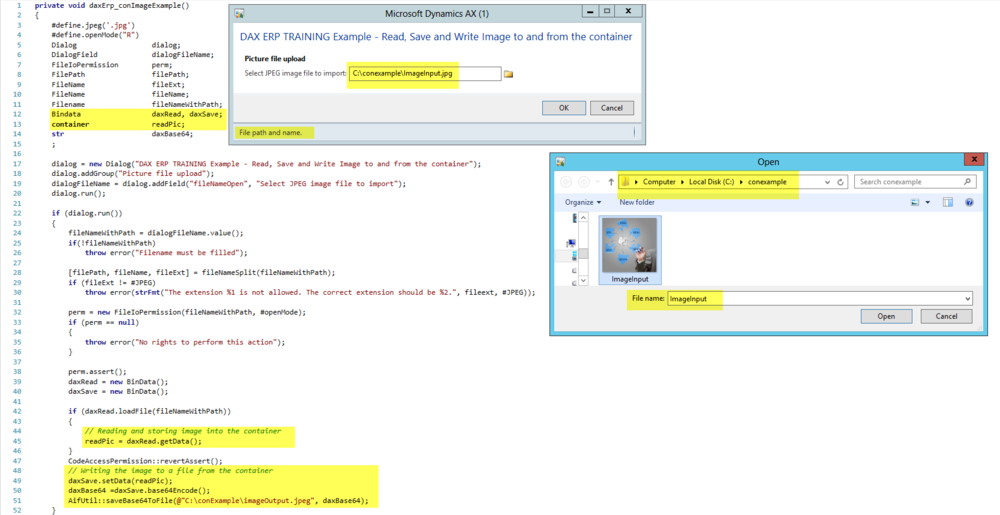 Dynamics AX Container Storing Image Example Dax