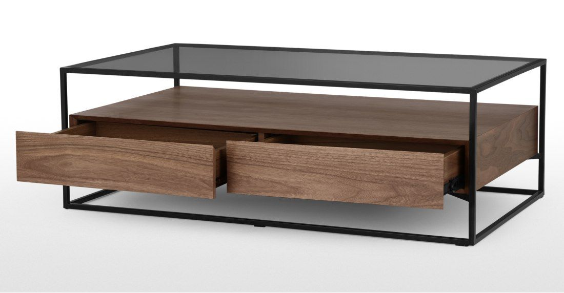 Baxter Coffee Table Walnut And Smoked Glass Made Com Coffee Table Smoked Glass Table