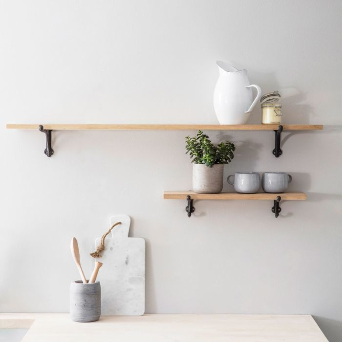Oak Shelves with Iron Brackets is part of Living Room Shelves With Brackets - A simple and modern design with rustic charm, these oak shelves with iron brackets will fit effortlessly into any living space