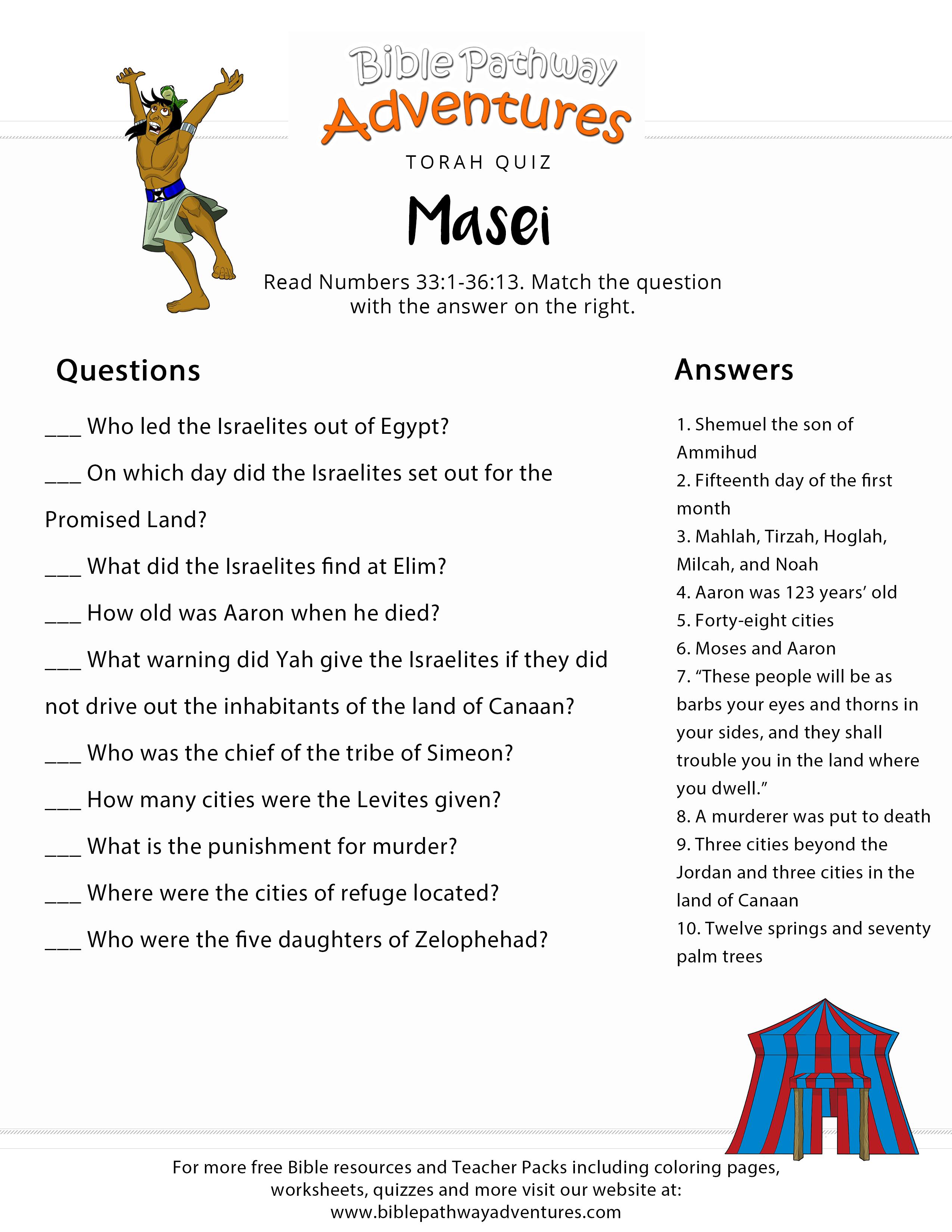 Image result for masei torah portion bible quiz images