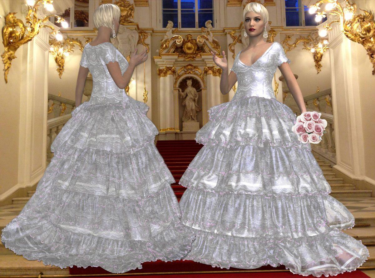 Silk damask wedding gown with layered ruffled silk chiffon skirt
