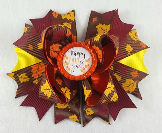 Happy Fall Hair Bow-Hair Accessories/Little Girl Hair Bow/Toddler Hair Bow/Children Accessory/Brown/Yellow/Stack Hair Bow/Kid HairBow/Autumn #kidshairaccessories