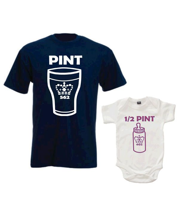 Pint and Half pint shirt set, Shirt and bodysuit set, Daddy and baby set, Fathers day gift, Gift for dad, Pint shirt, Half pint bodysuit