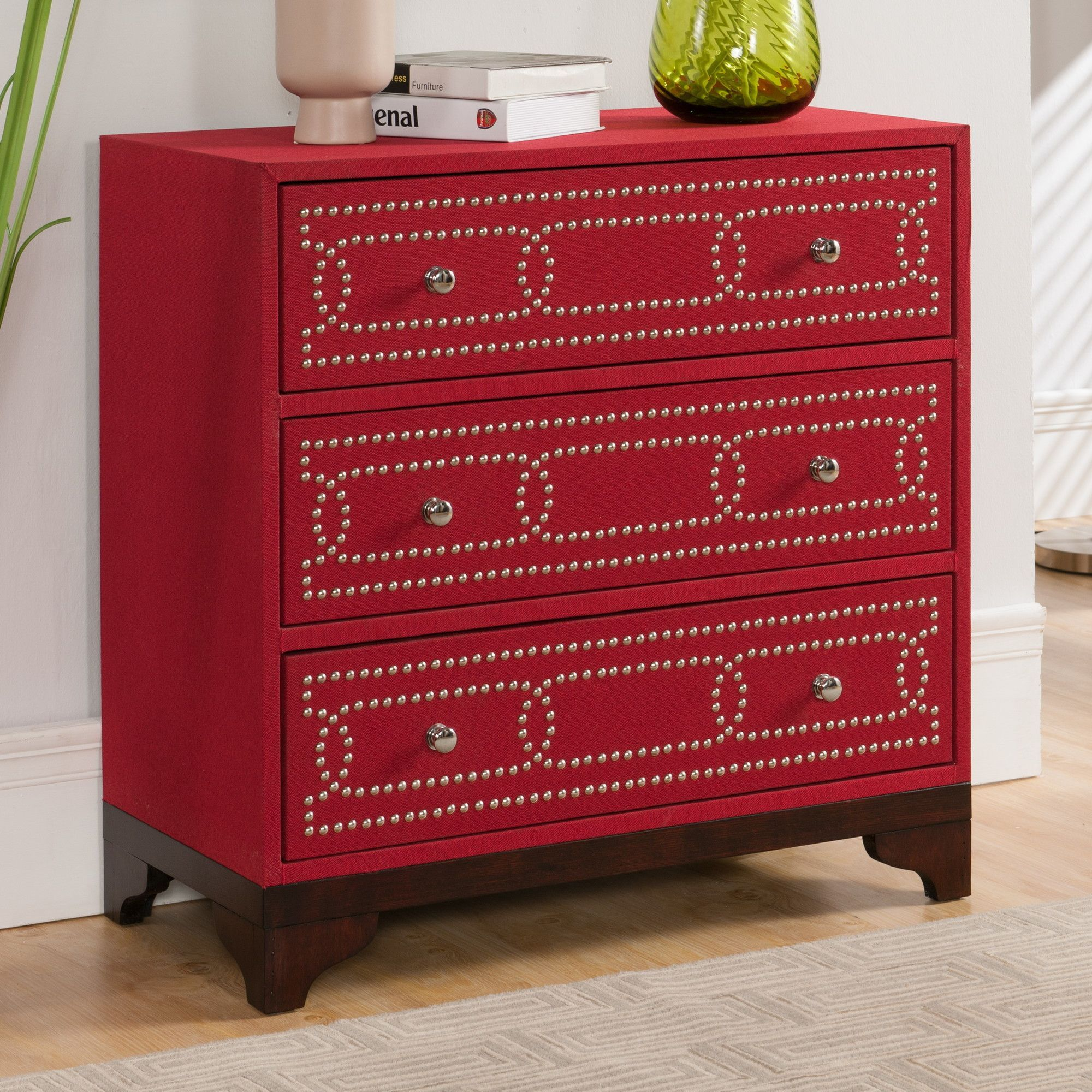 3 Drawer Chest in Keeneland Red