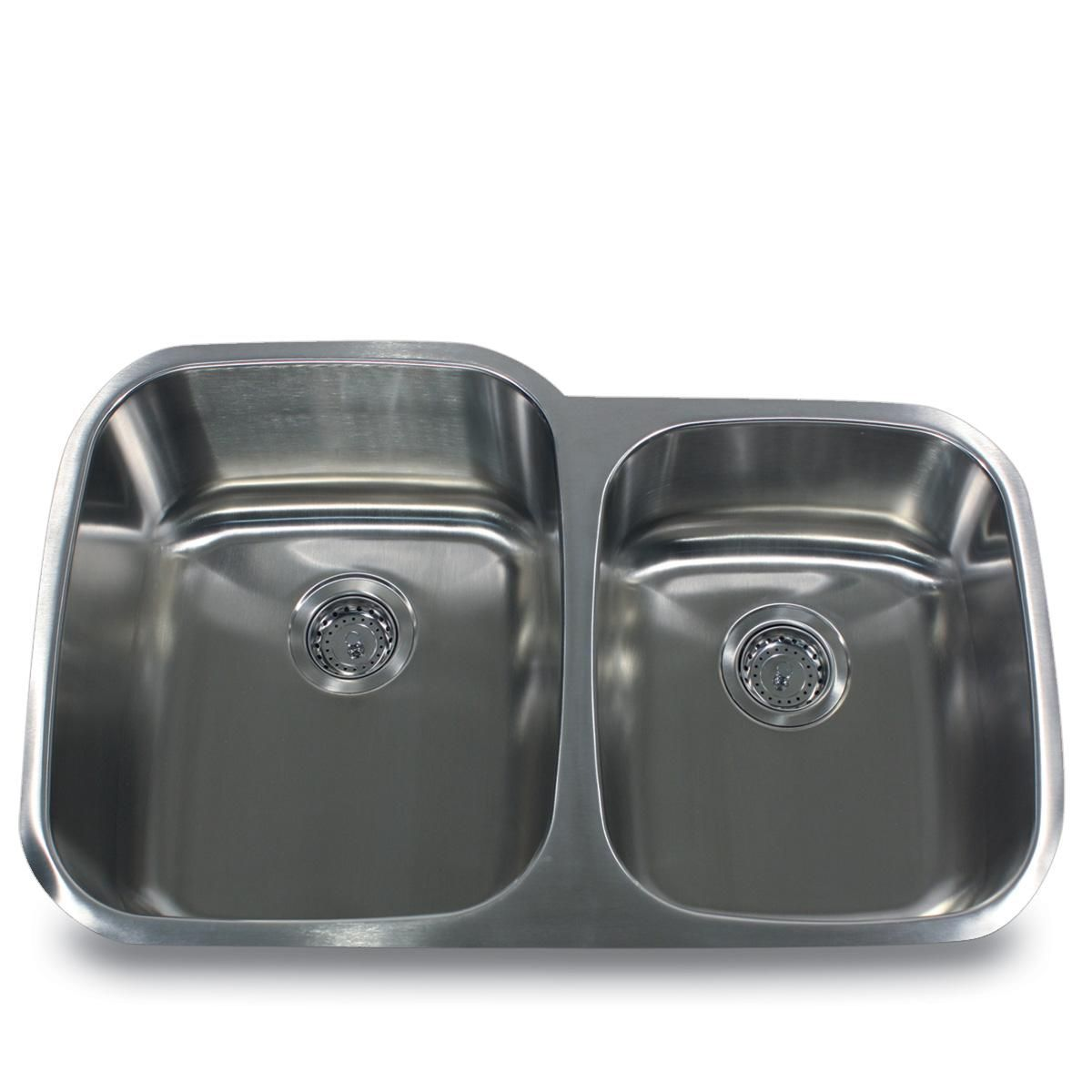 Stainless Steel (Silver) Offset Double Bowl Kitchen Sink (Stainless Steel Double Bowl)