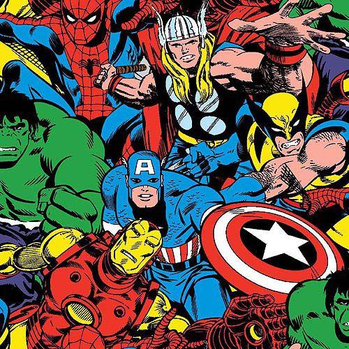 Marvel Comic Strip Avengers Fabric Blue Captain America Hulk Thor Characters FQ