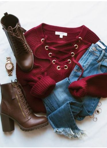 Elsa Lace Up Sweater – Burgundy