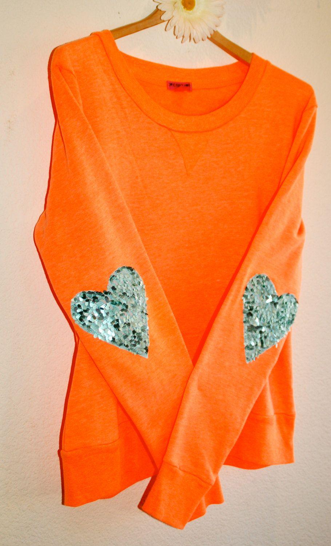 "The ""Dazzle Patch"" Sweatshirt  w/Heart Sequin Elbow Patch"