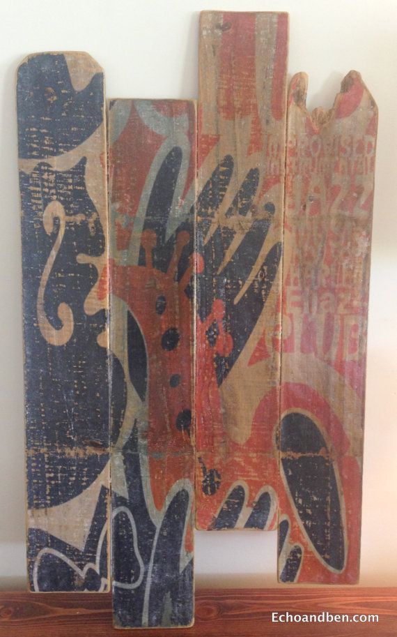 Vintage abstract jazz club on reclaimed wood by EchoandBen on Etsy