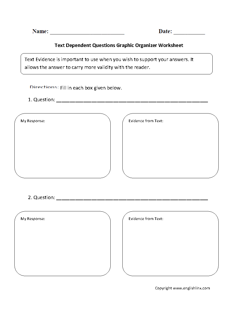 Workbooks parallel structure worksheets : Text Dependent Questions Graphic Organizers Worksheets | Inquiry ...