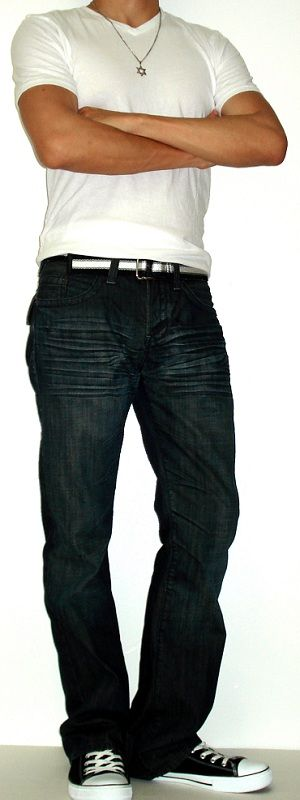 Plain white t-shirt, black all star shoes, black converse jeans ...