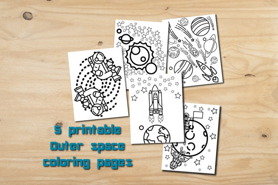 Outer space party favor, printable color pages, instant download ...