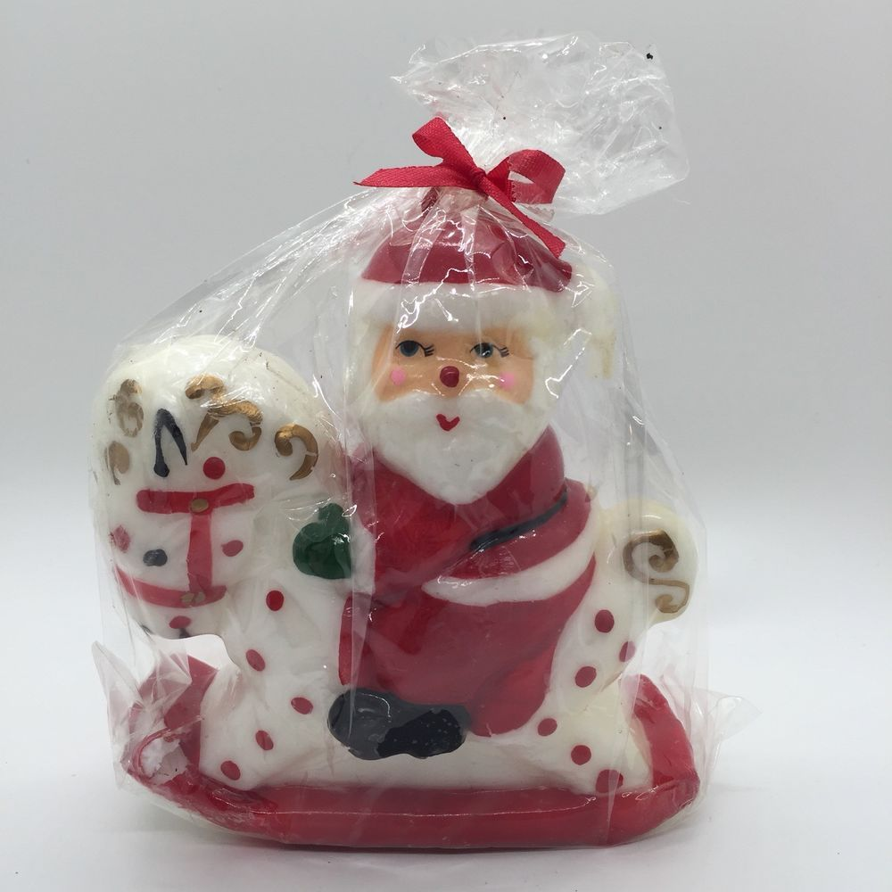 Vintage Santa Claus On Rocking Horse Christmas Candle