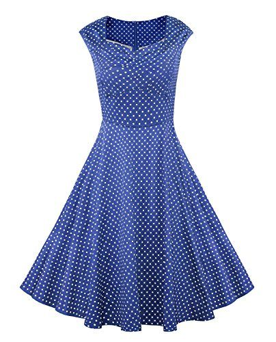 9ae92d31d7c Killreal Women Plus Size 1950s Polka Dot Vintage Retro Red Cotton Party  Cocktail Rockabilly Swing Dress NavyBlue XLarge -- Want to know more