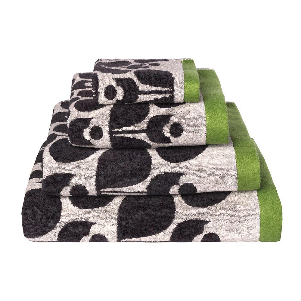 Discover The Orla Kiely Wallflower Jacquard Towel Slate Cream Le Green Bath 125x70cm At Amara