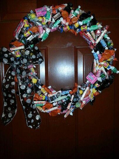 Halloween candy wreath,too cute.