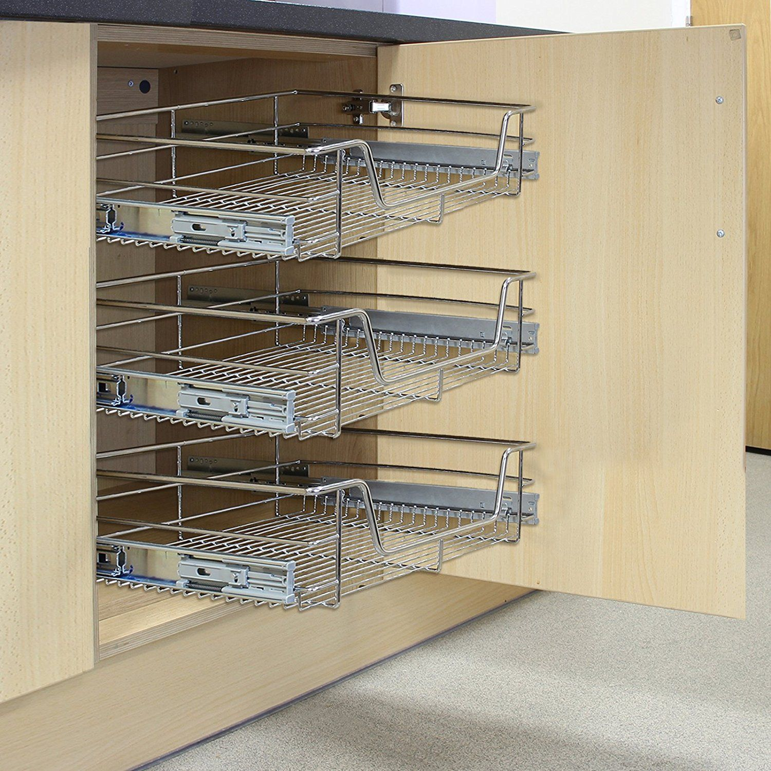 Kukoo 5 X Kitchen Pull Out Soft Close Baskets 500mm Wide Cabinet Slide Out Wire Storage Drawers Amazon Co Uk Kit Storage Drawers Wire Storage Kitchen Pulls