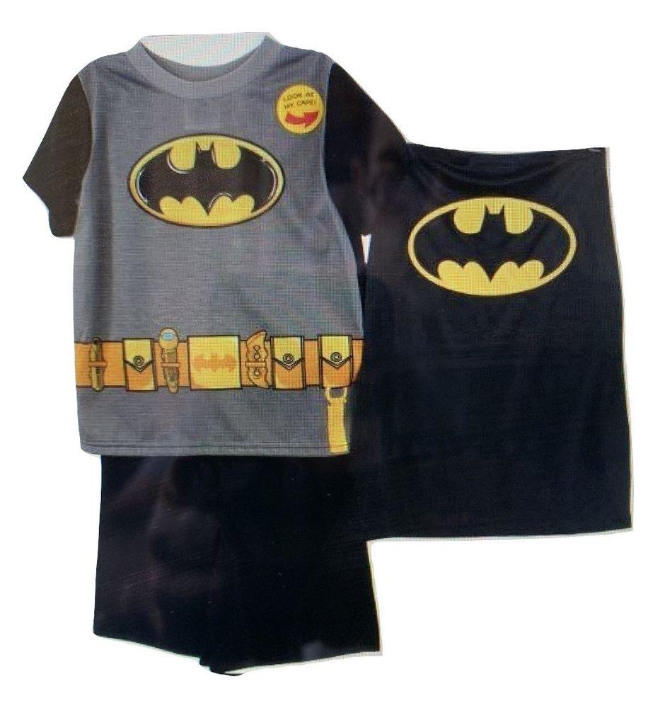 BATMAN w//Cape 2 piece short sleeve//long pant pajama set~ Size 8~NEW w//tags
