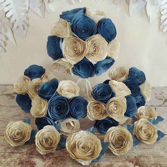 Papier Origami de mariage Bouquet de fleurs de mariée wedgewood bleuet bleu pride prejudice livre page thème vintage littéraire alternative rose