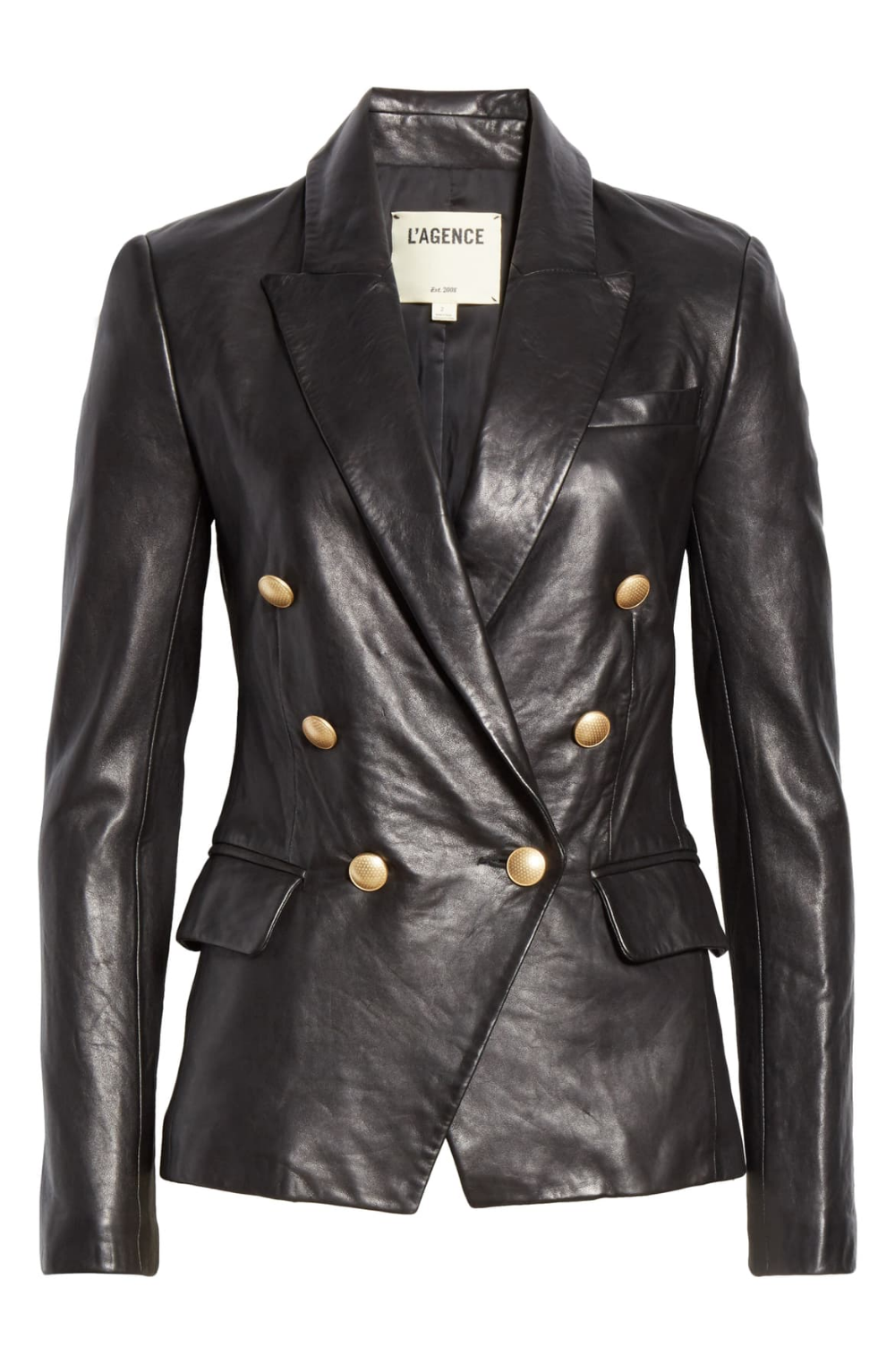 L Agence Kenzie Double Breasted Leather Blazer Nordstrom Leather Blazer Black Leather Blazer Black Leather [ 1533 x 1000 Pixel ]