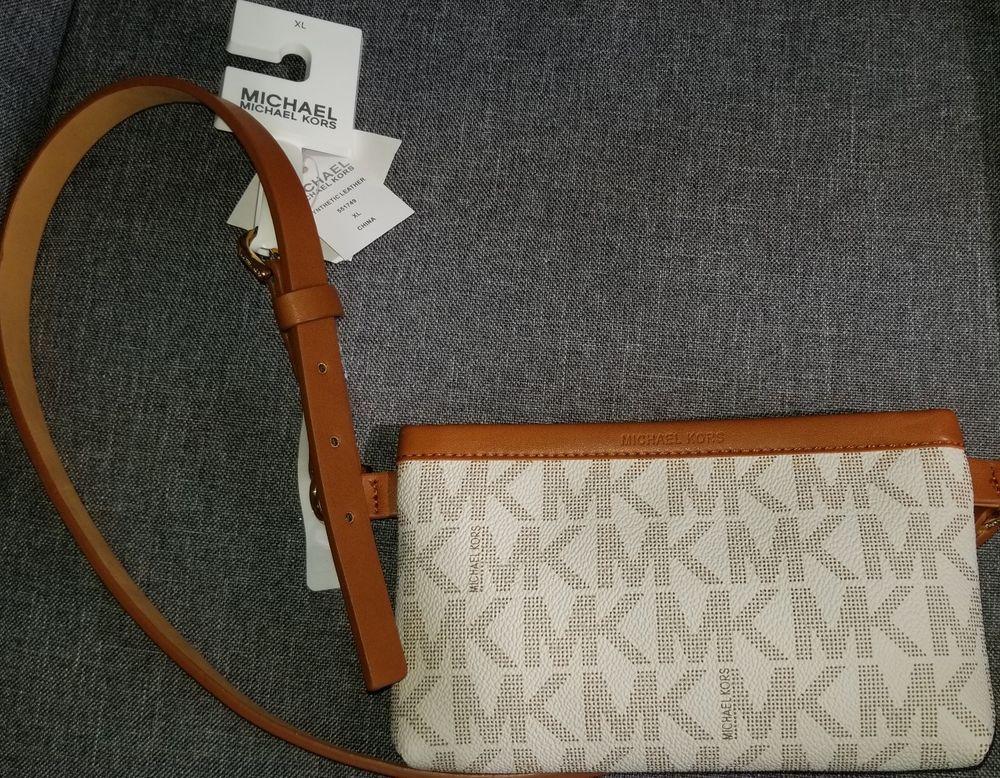 d0d315be4b76 netherlands nwt michael kors signature mk logo luggage brown belt bag fanny  pack large or xl