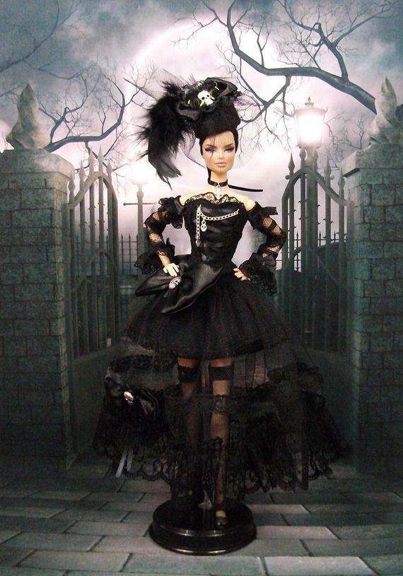 robe gothique n 11 tenue pour poup e f3788 barbie ken goth punk steampunk sets. Black Bedroom Furniture Sets. Home Design Ideas