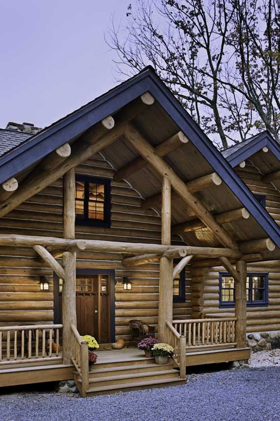 Log cabin with a Craftsman style entry door.   Our House!! One day ...