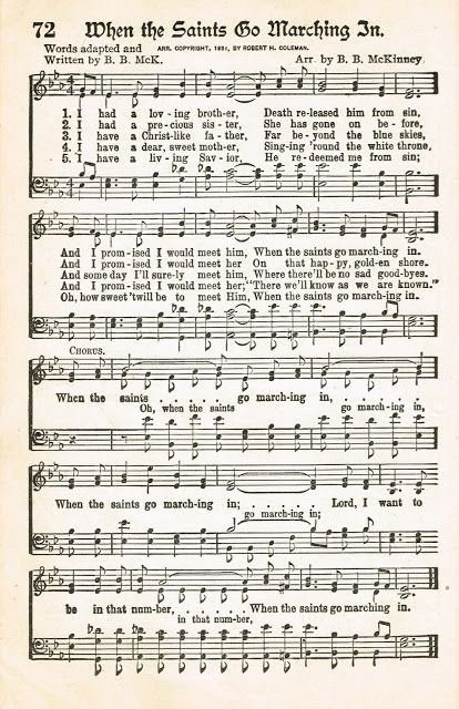 Sonday When The Saints Go Marching In Antique Hymn Page