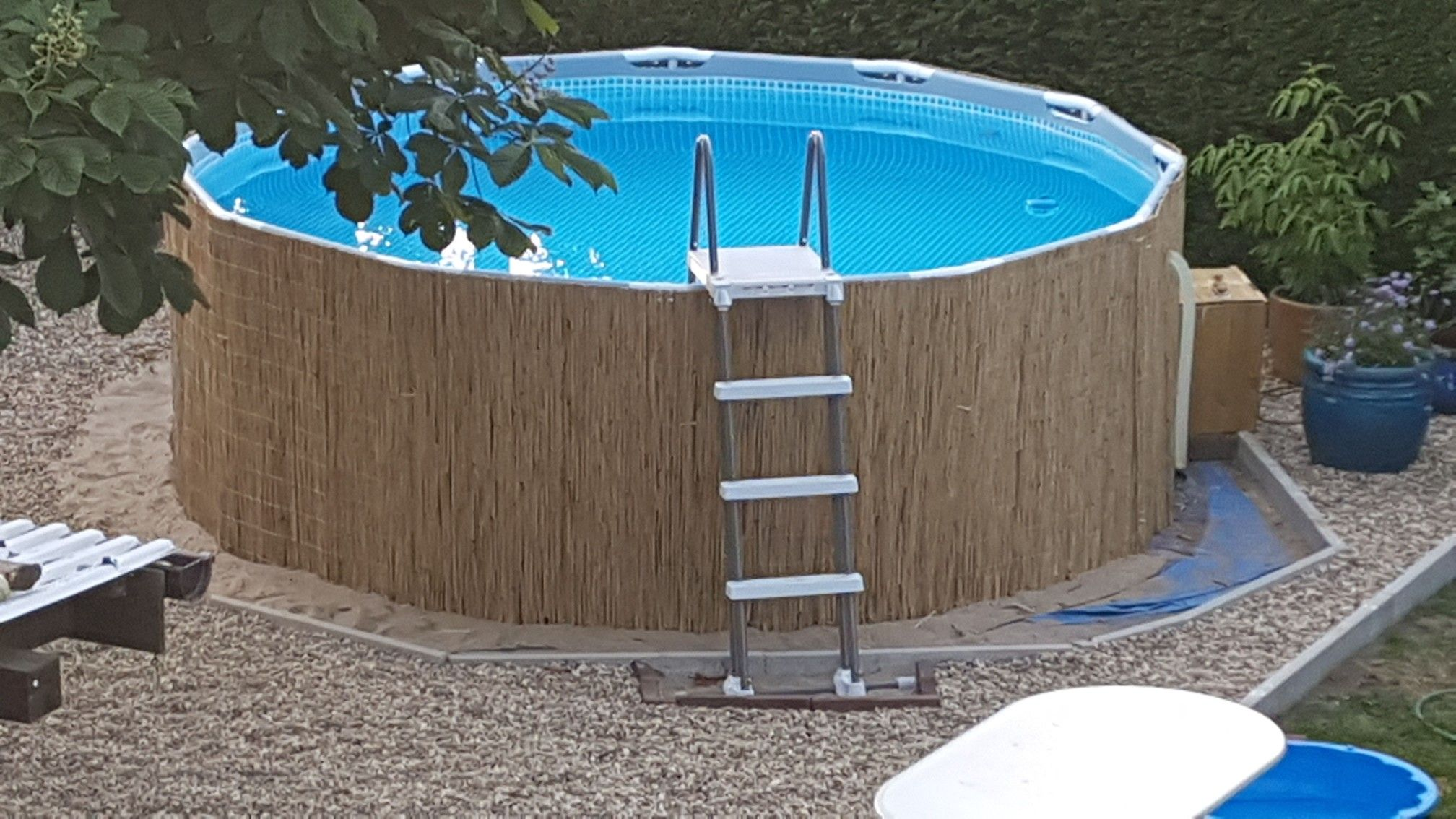 #Frame Pool #Above Ground Pool #Pool Transformation #Bambusmatten Als Pool  Verkleidung