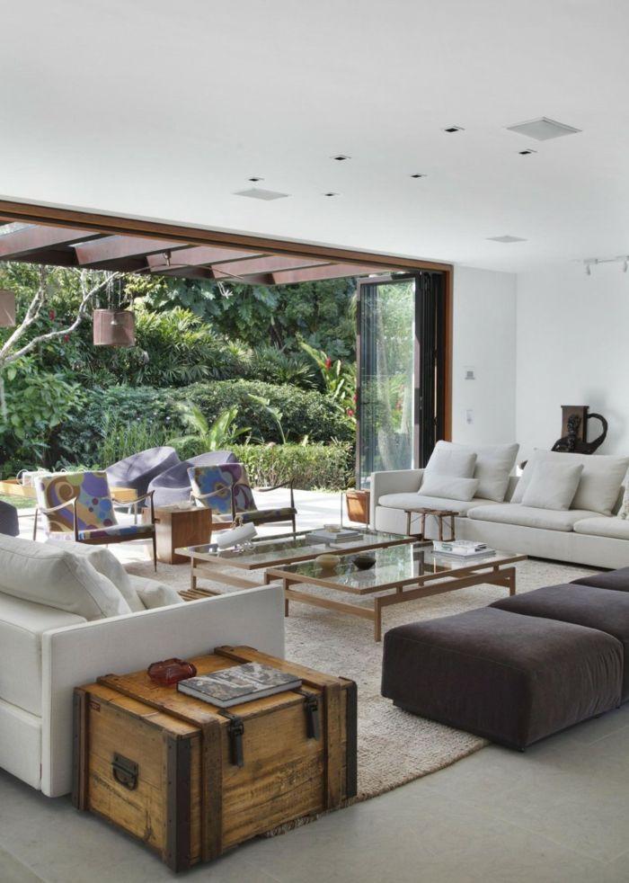 wohnzimmer einrichten beispiele elegante mobel rustikaler beistelltisch