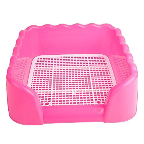 Dog Toilet Dog Puppy Plastic Potty Training Tray  with Fence Target Pink Large