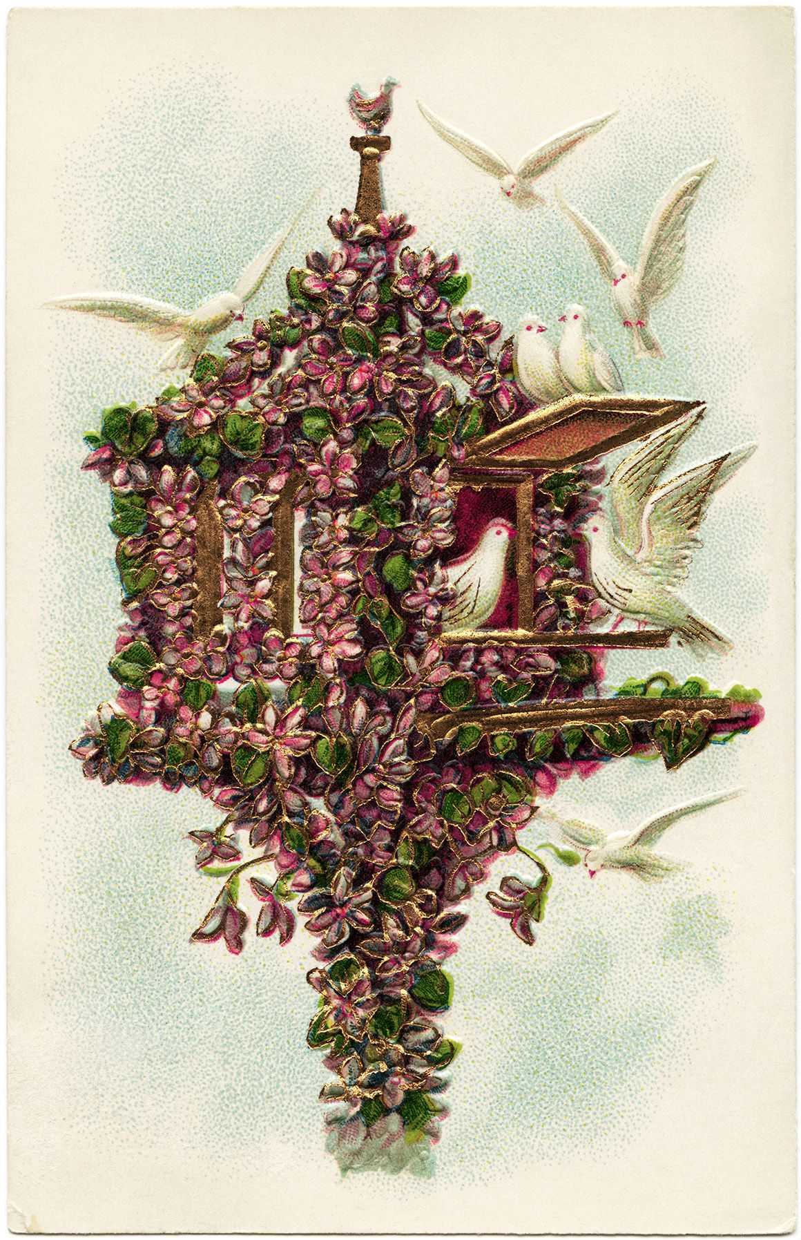 Flower Covered Birdhouse and Doves free vintage image | Vintage ...