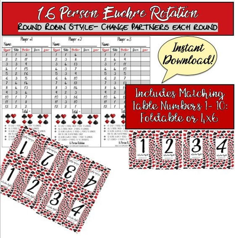 Timeless Euchre Rotation Chart For 24 Players 2019