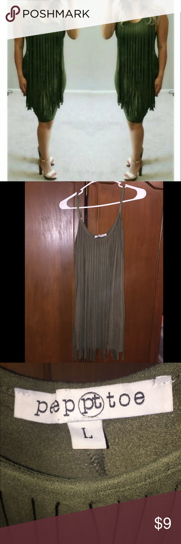 Olive Fringe Dress Perfect condition, wore once. Tight fitted and could fit a medium. The back looks exactly like the front. Super cute and fun! Dresses
