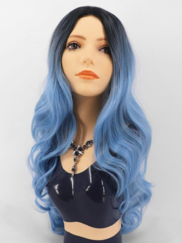 Gradient Center Part Body Wave Long Synthetic Wig Ad ,