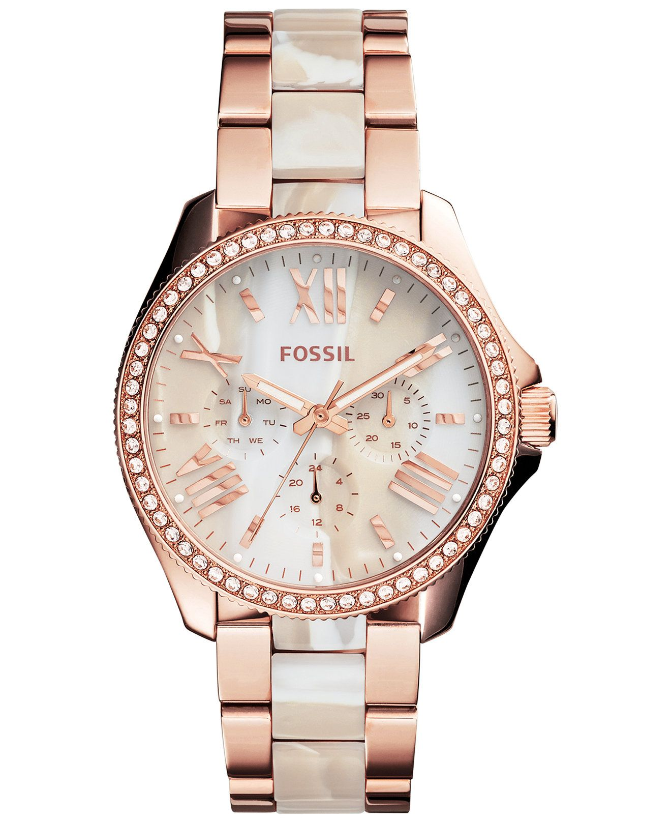 f093ab11aa9 Fossil Women s Chronograph Cecile Shimmer Horn and Rose Gold-Tone Stainless  Steel Bracelet Watch 40mm AM4616 - Watches - Jewelry   Watches - Macy s