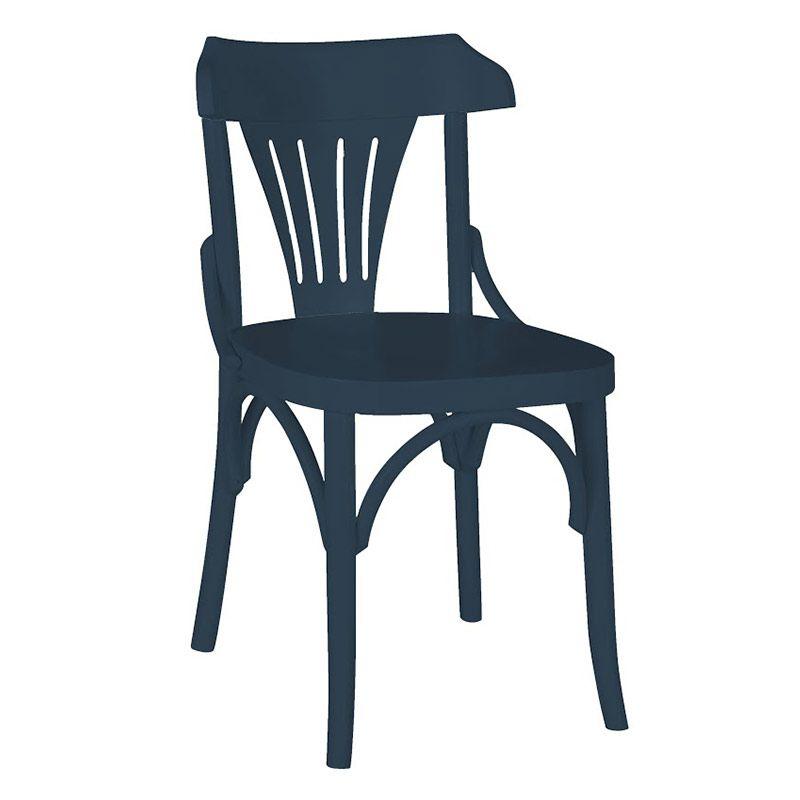 Cadeira Olívia Fabricada em Madeira Maciça Pinus Cor Azul Marinho com Acabamento em Laca Fosca