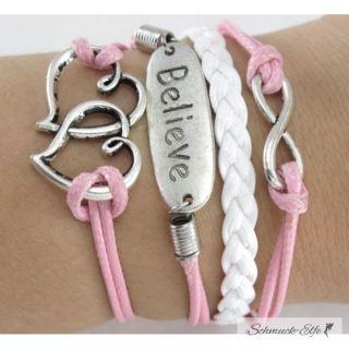 Armband Believe & Herzchen rosa weiß  im...