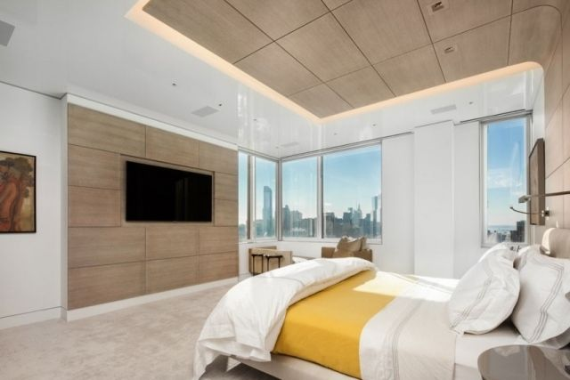 modernes schlafzimmer bilder holz deckengestaltung tv wand,