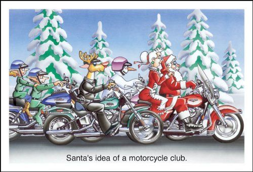 Harley Davidson Christmas Cards With Santa Mrs Claus The Elves