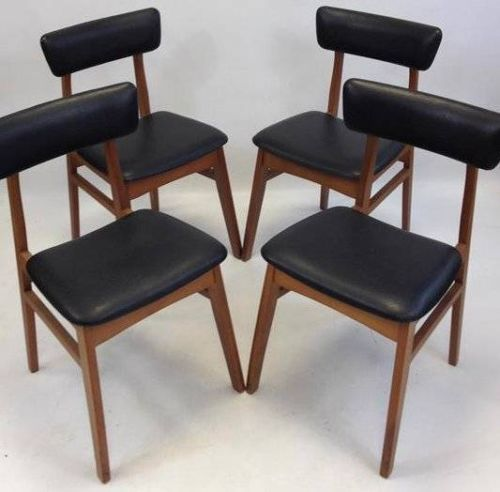 4 X Retro Schreiber 1960 S Vintage Chair Teak Black Vinyl Base Back Rests Ebay Chair Vintage Chairs Antique Chairs