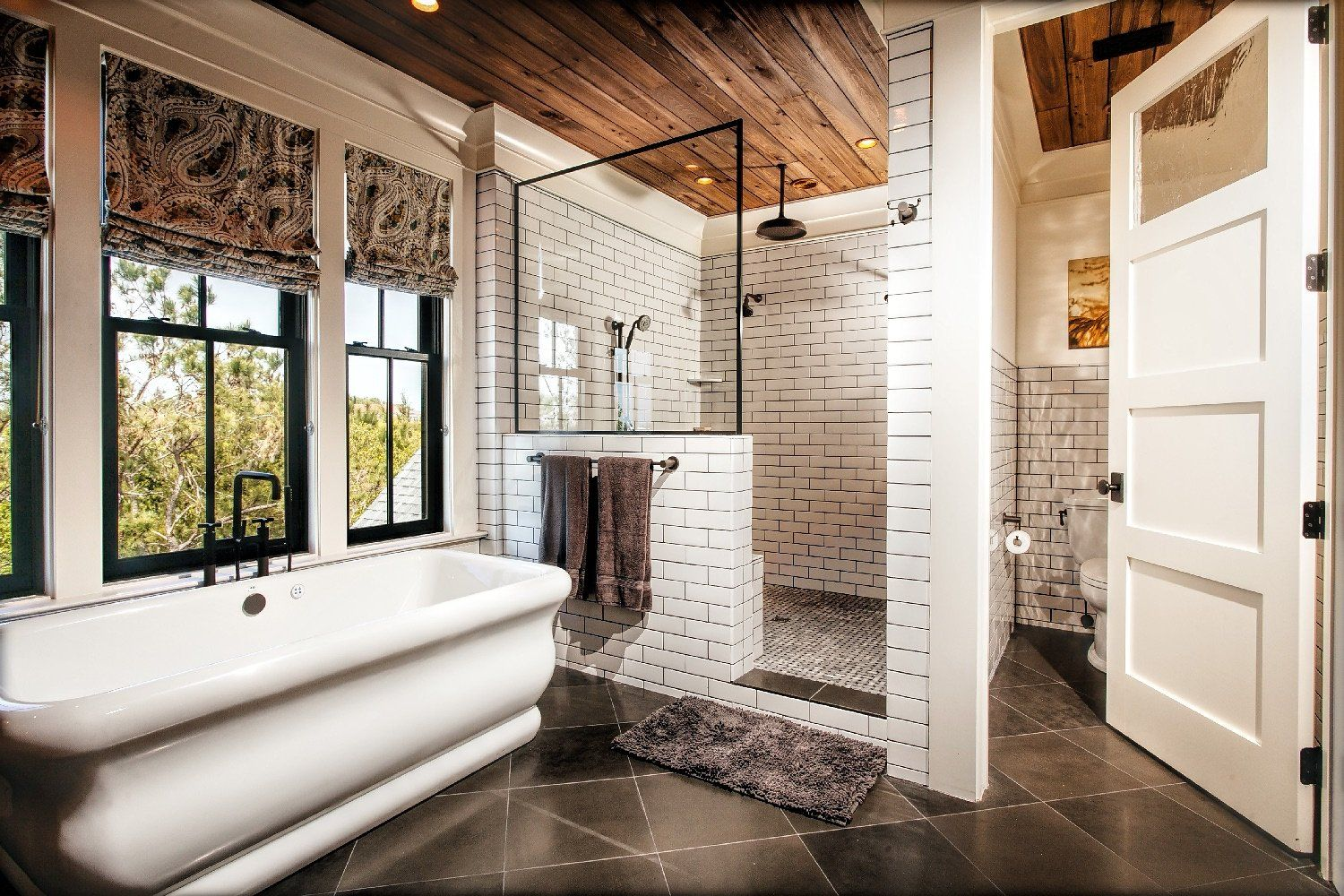 Love This Bathroom Subway Tile Shower With Wood Ceiling And